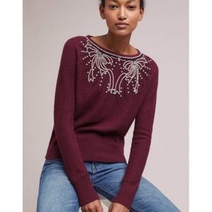Field Flower Maroon Beaded Sweater Size MP